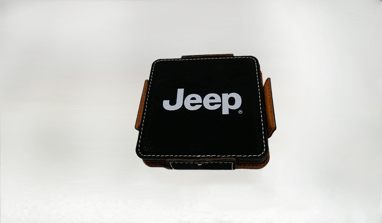 Portavasos cuero Jeep